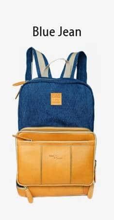 กระเป๋าเป้ หนังแท้ เดินทาง Blue Jean