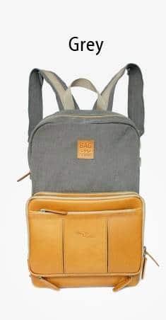 กระเป๋าเป้เดินทาง หนังแท้ Grey Jean