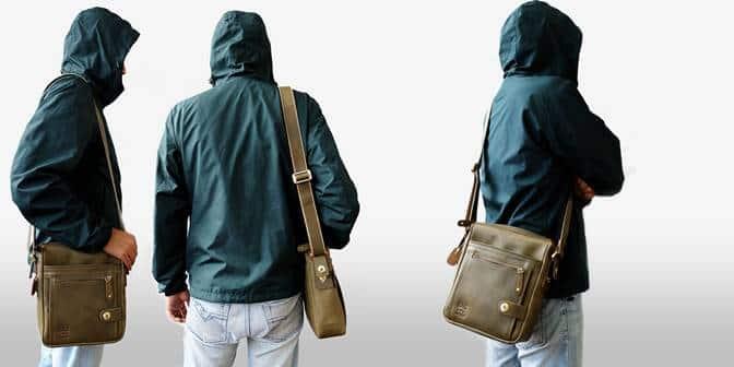 กระเป๋าผู้ชาย หนังแท้ สีเขียวทหาร Military