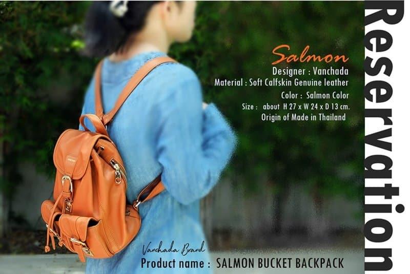 กระเป๋าเป้ Bucket หนังแท้ รุ่น salmon
