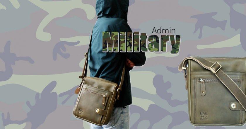 กระเป๋าผู้ชาย สะพายข้าง admin หนังฟอกฝาด Military