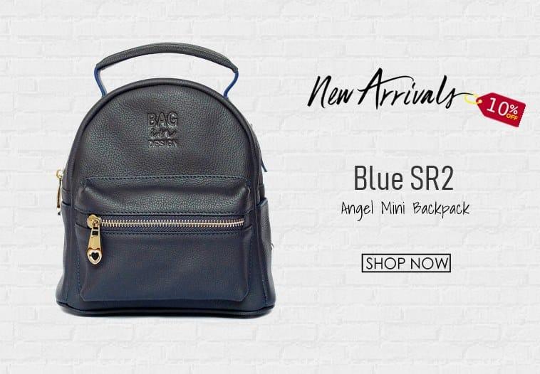 กระเป๋าเป้ หนังแท้ สีน้ำเงิน