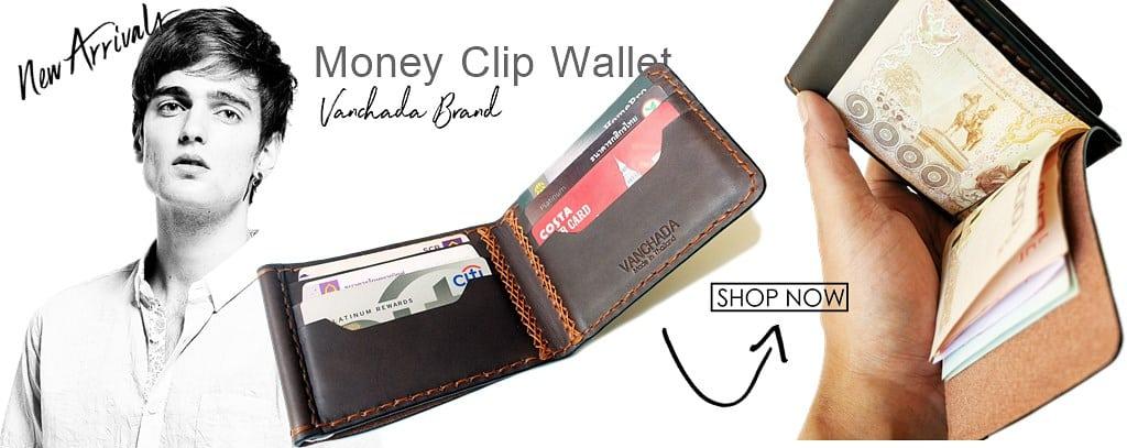 กระเป๋าสตางค์ ผู้ชาย หนังแท้ moneyclip wallet leather